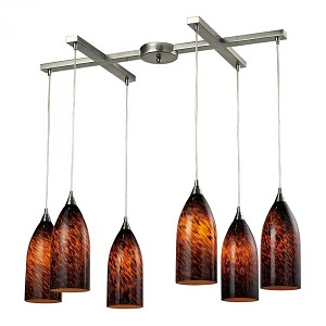 ELK Lighting Six Light Satin Nickel Espresso Glass Multi Light Pendant - 502-6ES